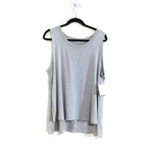 Beyond Yoga Gray High Low Side Slit Tank
